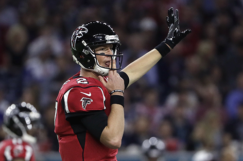 <div class='meta'><div class='origin-logo' data-origin='AP'></div><span class='caption-text' data-credit='AP'>Atlanta Falcons' Matt Ryan signals on the field during the first half of the NFL Super Bowl 51 football game against the New England Patriots Sunday, Feb. 5, 2017.</span></div>