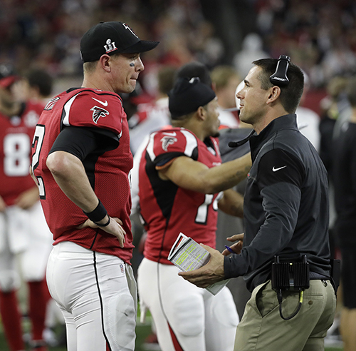 <div class='meta'><div class='origin-logo' data-origin='AP'></div><span class='caption-text' data-credit='AP'>Atlanta Falcons' Matt Ryan, left, on the sidelines during the first half of the NFL Super Bowl 51 football game against the New England Patriots, Sunday, Feb. 5, 2017, in Houston.</span></div>
