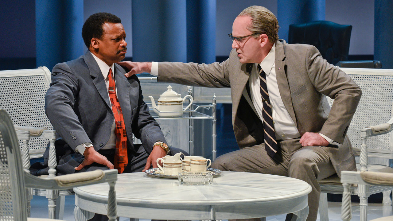 <div class='meta'><div class='origin-logo' data-origin='none'></div><span class='caption-text' data-credit='Karen Almond/Alley Theatre'>Shawn Hamilton as Rev. Martin Luther King Jr., and Brandon Potter as President Lyndon Baines Johnson in the Alley Theatre's &#34;All the Way.&#34;</span></div>