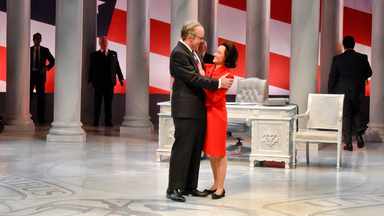<div class='meta'><div class='origin-logo' data-origin='none'></div><span class='caption-text' data-credit='Karen Almond/Alley Theatre'>Brandon Potter as President Lyndon Baines Johnson and Leah Spillman as Lady Bird Johnson in Alley Theatre's &#34;All the Way.&#34;</span></div>