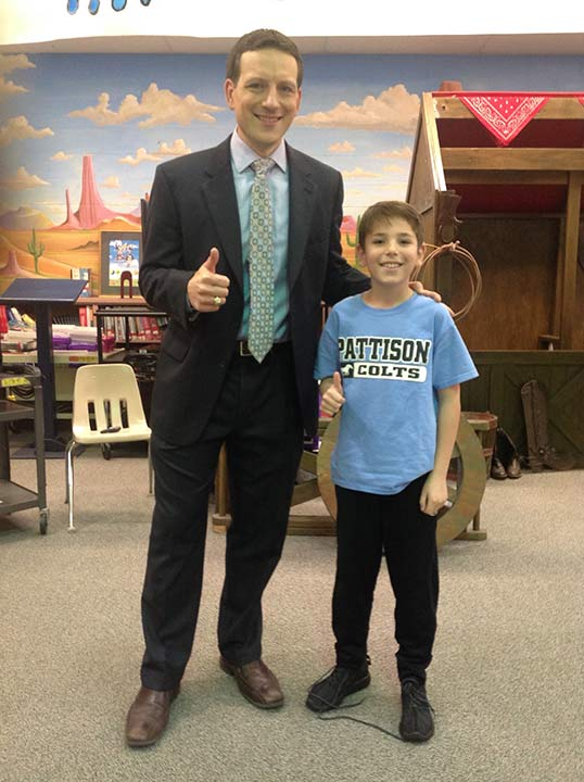 <div class='meta'><div class='origin-logo' data-origin='none'></div><span class='caption-text' data-credit=''>Travis Herzog visits Pattison Elementary School in Katy ISD</span></div>
