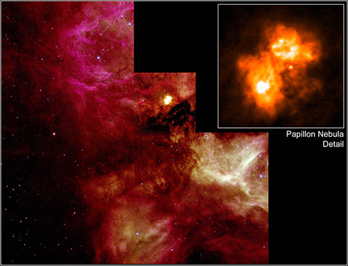"<div class=""meta image-caption""><div class=""origin-logo origin-image none""><span>none</span></div><span class=""caption-text"">PAPILLION NEBULA: Hubble's view of a turbulent cauldron of starbirth, called N159, taking place 170,000 light-years away in our satellite galaxy, the Large Magellanic Cloud. (M. Heydari-Malayeri (Paris Observatory)/NASA/ESA)</span></div>"