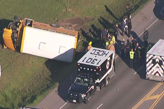 <div class='meta'><div class='origin-logo' data-origin='none'></div><span class='caption-text' data-credit='KTRK Photo/ KTRK'>Authorities say a school bus crashed in northwest Harris County after a car ran a red light and struck one of the buses, sending it into a ditch</span></div>
