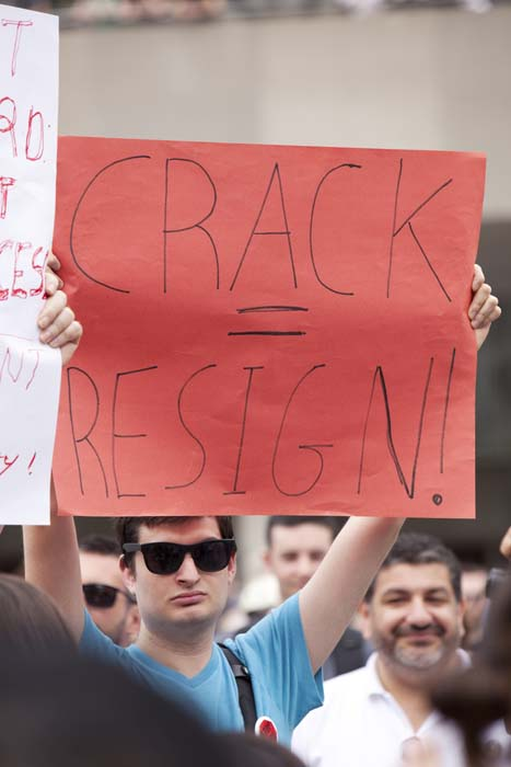 <div class='meta'><div class='origin-logo' data-origin='KTRK'></div><span class='caption-text' data-credit='Shutterstock/igor kisselev'>Protesters called for Mayor Rob Ford to resign due to a video scandal</span></div>