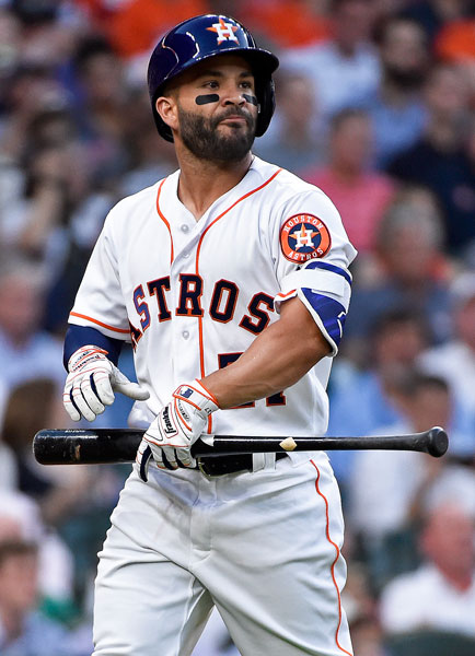 <div class='meta'><div class='origin-logo' data-origin='none'></div><span class='caption-text' data-credit='AP Photo/Eric Christian Smith'>Houston Astros' Jose Altuve walks to the dugout after striking out in the first inning of a baseball game against the Seattle Mariners, Monday, April 3, 2017, in Houston.</span></div>