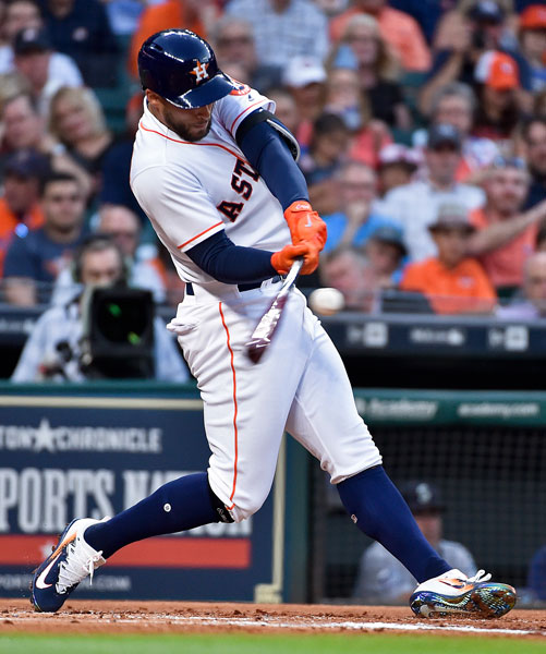 "<div class=""meta image-caption""><div class=""origin-logo origin-image none""><span>none</span></div><span class=""caption-text"">Houston Astros' George Springer hits a leadoff solo home run off Seattle Mariners starting pitcher Felix Hernandez in the first inning of a baseball game, Monday, April 3, 2017, in (AP Photo/Eric Christian Smith)</span></div>"
