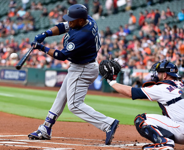<div class='meta'><div class='origin-logo' data-origin='none'></div><span class='caption-text' data-credit='AP Photo/Eric Christian Smith'>Seattle Mariners' Robinson Cano hits a double during the first inning against the Houston Astros in a baseball game Tuesday, April 4, 2017, in Houston.</span></div>