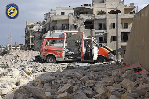 <div class='meta'><div class='origin-logo' data-origin='AP'></div><span class='caption-text' data-credit='Syrian Civil Defense White Helmets via AP'>A destroyed ambulance is seen outside the Syrian Civil Defense main center after airstrikes in Ansari neighborhood in the rebel-held part of eastern Aleppo.</span></div>