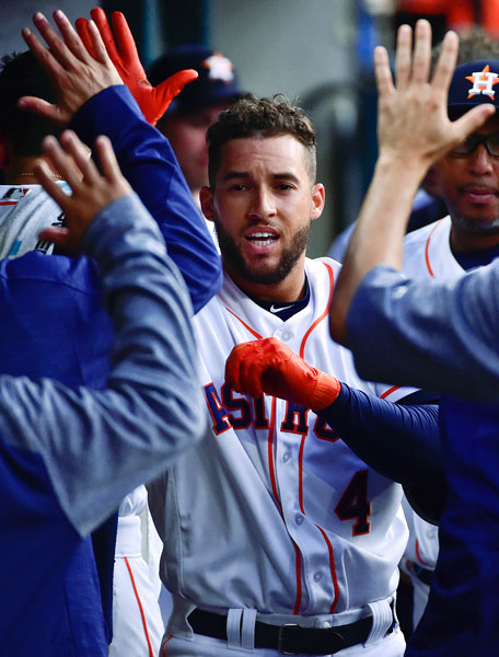 "<div class=""meta image-caption""><div class=""origin-logo origin-image none""><span>none</span></div><span class=""caption-text"">Houston Astros' George Springer (4) celebrates his leadoff home run off Seattle Mariners starting pitcher Ariel Miranda during the first inning of a baseball game. (AP Photo/Eric Christian Smith)</span></div>"