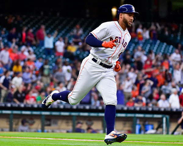 "<div class=""meta image-caption""><div class=""origin-logo origin-image none""><span>none</span></div><span class=""caption-text"">Houston Astros' George Springer rounds the bases after hitting a leadoff home run off Seattle Mariners starting pitcher Ariel Miranda during the first inning of the game. (AP Photo/Eric Christian Smith)</span></div>"