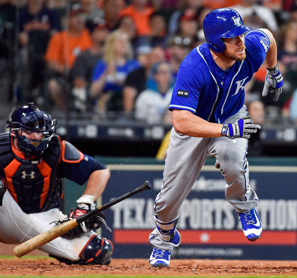 <div class='meta'><div class='origin-logo' data-origin='none'></div><span class='caption-text' data-credit='AP Photo/Eric Christian Smith'>Kansas City Royals' Brandon Moss watches his go-ahead solo home run off Houston Astros relief pitcher Chris Devenski in the ninth inning of a baseball game, Sunday, April 9, 2017.</span></div>