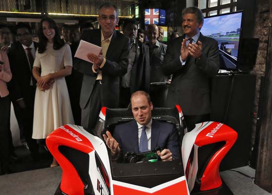 "<div class=""meta image-caption""><div class=""origin-logo origin-image ap""><span>AP</span></div><span class=""caption-text"">Britain's Prince William steers a Formula E simulator at an event on young entrepreneurs in Mumbai, India, Monday, April 11, 2016. (Danish Siddiqui/Pool Photo via AP)</span></div>"
