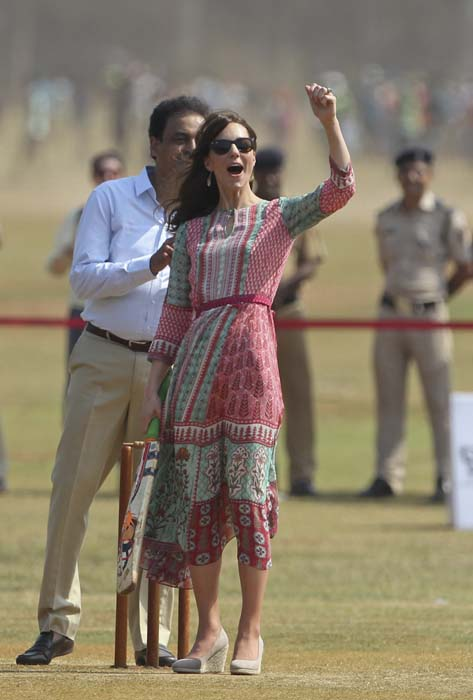 "<div class=""meta image-caption""><div class=""origin-logo origin-image ap""><span>AP</span></div><span class=""caption-text"">The Duchess of Cambridge, the former Kate Middleton, gestures as she plays cricket in Mumbai, India (Rafiq Maqbool /Pool via AP)</span></div>"