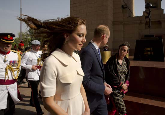 "<div class=""meta image-caption""><div class=""origin-logo origin-image ap""><span>AP</span></div><span class=""caption-text"">Britain's Prince William, along with his wife Kate, the Duchess of Cambridge leave after paying their tributes at the India Gate war memorial. (Manish Swarup/Pool Photo via AP)</span></div>"