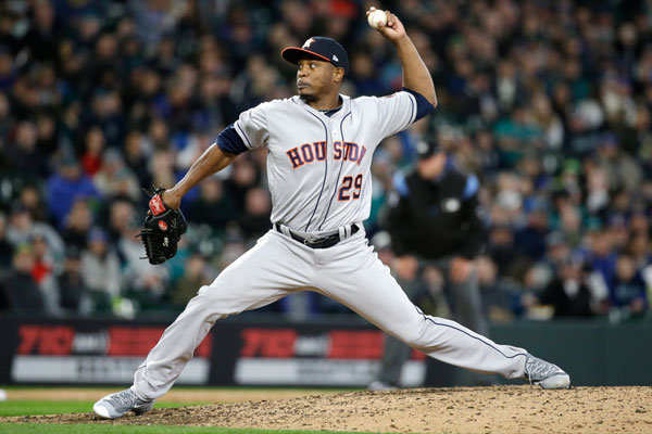 <div class='meta'><div class='origin-logo' data-origin='none'></div><span class='caption-text' data-credit='AP Photo/Elaine Thompson'>Houston Astros relief pitcher Tony Sipp in action against the Seattle Mariners in a baseball game Monday, April 10, 2017, in Seattle. The game is the home opener for the Mariners.</span></div>