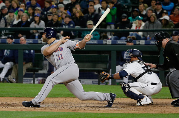 <div class='meta'><div class='origin-logo' data-origin='none'></div><span class='caption-text' data-credit='AP Photo/Ted S. Warren'>Houston Astros' Evan Gattis and Seattle Mariners catcher Carlos Ruiz watch Gattis' three-run pinch-hit double during the sixth inning of a baseball game, Tuesday, April 11, 2017.</span></div>