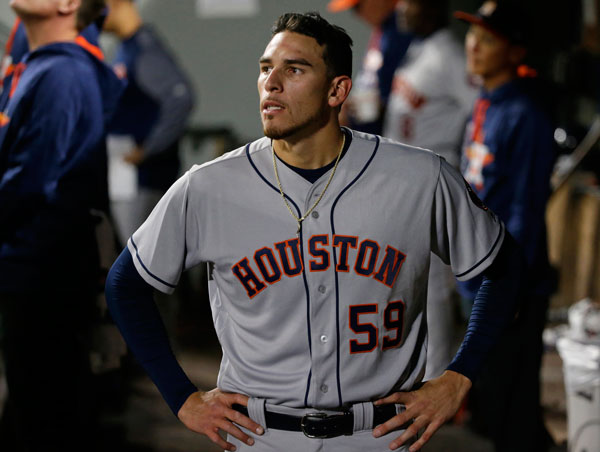 "<div class=""meta image-caption""><div class=""origin-logo origin-image none""><span>none</span></div><span class=""caption-text"">Houston Astros starting pitcher Joe Musgrove stands in the dugout after he was pulled in the sixth inning of the team's baseball game against the Seattle Mariners. (AP Photo/Ted S. Warren)</span></div>"