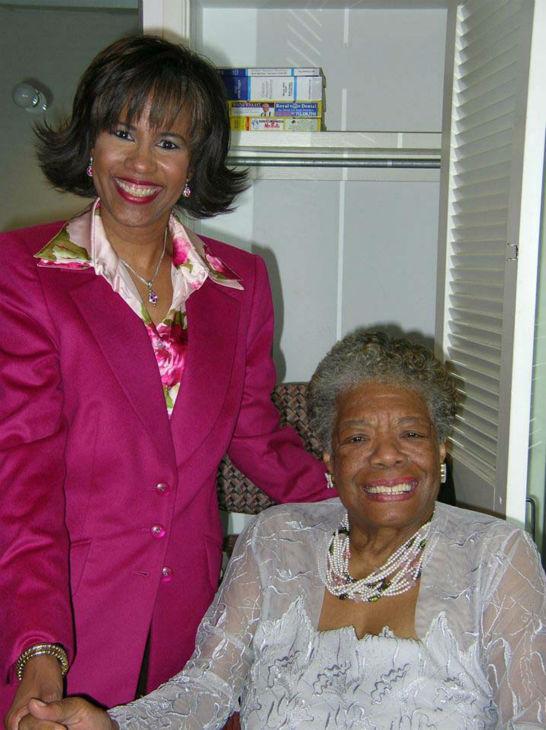 <div class='meta'><div class='origin-logo' data-origin='none'></div><span class='caption-text' data-credit='KTRK Photo'>Melanie Lawson with Maya Angelou</span></div>