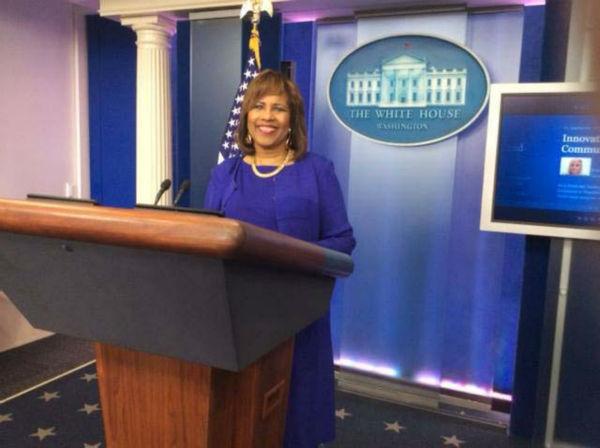 <div class='meta'><div class='origin-logo' data-origin='none'></div><span class='caption-text' data-credit='KTRK Photo'>Melanie Lawson at the White House</span></div>