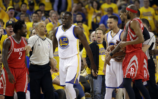 <div class='meta'><div class='origin-logo' data-origin='AP'></div><span class='caption-text' data-credit='Marcio Jose Sanchez'>Houston Rockets' Patrick Beverley, left, is separated from Golden State Warriors' Stephen Curry, at right, after they both got into a shoving match during the first half.</span></div>