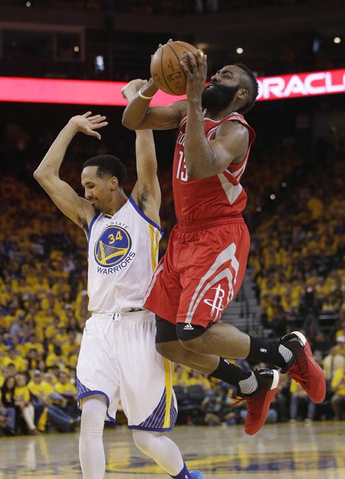 <div class='meta'><div class='origin-logo' data-origin='AP'></div><span class='caption-text' data-credit='Marcio Jose Sanchez'>Houston Rockets' James Harden (13) commits an offensive foul on Golden State Warriors' Shaun Livingston (34) during the first half.</span></div>