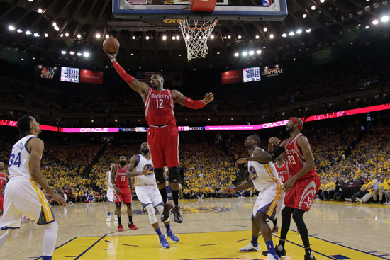 <div class='meta'><div class='origin-logo' data-origin='AP'></div><span class='caption-text' data-credit='Marcio Jose Sanchez'>Houston Rockets' Dwight Howard (12) grabs a rebound against the Golden State Warriors during the first half in Game 1 of a first-round.</span></div>