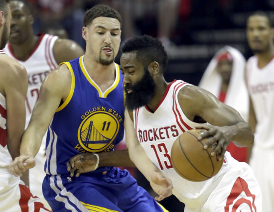 "<div class=""meta image-caption""><div class=""origin-logo origin-image ap""><span>AP</span></div><span class=""caption-text"">Houston Rockets' James Harden, right, drives around Golden State Warriors' Klay Thompson during the first half. (David J. Phillip)</span></div>"