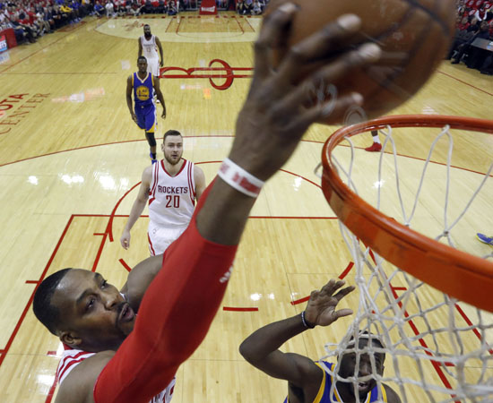 "<div class=""meta image-caption""><div class=""origin-logo origin-image ap""><span>AP</span></div><span class=""caption-text"">Houston Rockets' Dwight Howard dunks the ball during the first half in Game 4. (David J. Phillip)</span></div>"