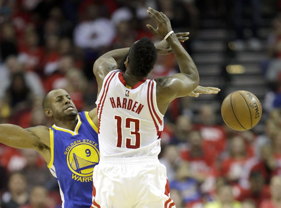 "<div class=""meta image-caption""><div class=""origin-logo origin-image ap""><span>AP</span></div><span class=""caption-text"">Houston Rockets' James Harden, right, is fouled by Golden State Warriors' Andre Iguodala during the first half in Game 4. (David J. Phillip)</span></div>"