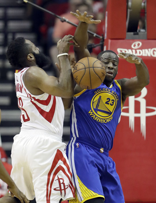 "<div class=""meta image-caption""><div class=""origin-logo origin-image ap""><span>AP</span></div><span class=""caption-text"">Houston Rockets' James Harden, left, is fouled on his way to the basket by by Golden State Warriors' Draymond Green during the first half. (David J. Phillip)</span></div>"
