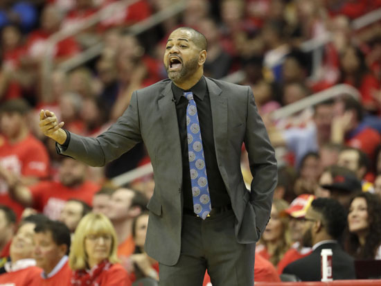"<div class=""meta image-caption""><div class=""origin-logo origin-image ap""><span>AP</span></div><span class=""caption-text"">Houston Rockets' J.B. Bickerstaff yells from the sidelines during the first half in Game 4. (David J. Phillip)</span></div>"