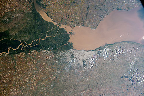 <div class='meta'><div class='origin-logo' data-origin='none'></div><span class='caption-text' data-credit='NASA'>The eye-catching delta and green swamps of the Paraná River on the Atlantic coast of Argentina.</span></div>