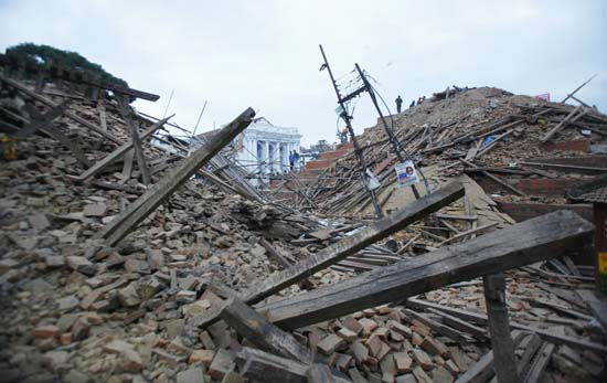 <div class='meta'><div class='origin-logo' data-origin='none'></div><span class='caption-text' data-credit='AP Photo/ Niranjan Shrestha'>Debris lie at Durbar Square after an earthquake in Kathmandu, Nepal</span></div>