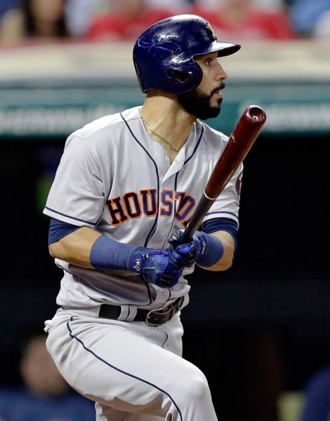 "<div class=""meta image-caption""><div class=""origin-logo origin-image none""><span>none</span></div><span class=""caption-text"">Houston Astros' Marwin Gonzalez watches his two-run double off Cleveland Indians relief pitcher Bryan Shaw during the eighth inning of a baseball game, Wednesday, April 26, 2017. (AP Photo/Tony Dejak)</span></div>"