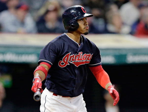 "<div class=""meta image-caption""><div class=""origin-logo origin-image none""><span>none</span></div><span class=""caption-text"">Cleveland Indians' Francisco Lindor watches his two-run home run off Houston Astros relief pitcher Chris Devenski during the seventh inning of a baseball game. (AP Photo/Tony Dejak)</span></div>"
