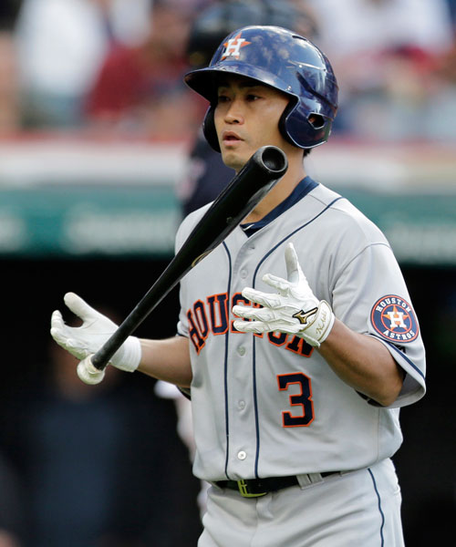 "<div class=""meta image-caption""><div class=""origin-logo origin-image none""><span>none</span></div><span class=""caption-text"">Houston Astros' Norichika Aoki flips his bat after striking out against Cleveland Indians starting pitcher Corey Kluber during the third inning of a baseball game. (AP Photo/Tony Dejak)</span></div>"