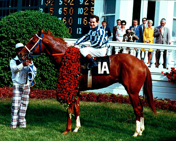 <div class='meta'><div class='origin-logo' data-origin='none'></div><span class='caption-text' data-credit='AP Photo'>Secretariat and jockey Ron Turcotte pose in the winner's circle after winning the 1973 Kentucky Derby at Churchill Downs in Louisville, Ky., on May 5, 1973.</span></div>