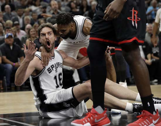 "<div class=""meta image-caption""><div class=""origin-logo origin-image ap""><span>AP</span></div><span class=""caption-text"">San Antonio Spurs' Pau Gasol (16) of Spain reacts to an officials call as Patty Mills (8) talks with him thduring the first half of Game 5. (AP Photo/Eric Gay) (AP)</span></div>"