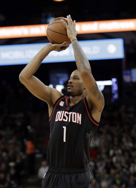 "<div class=""meta image-caption""><div class=""origin-logo origin-image ap""><span>AP</span></div><span class=""caption-text"">Houston Rockets forward Trevor Ariza (1) attempts a shot during the first half in Game 5. (AP Photo/Eric Gay) (AP)</span></div>"