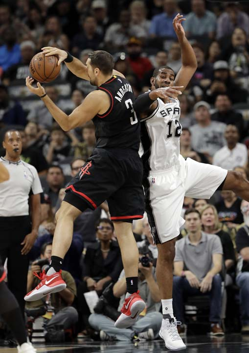 "<div class=""meta image-caption""><div class=""origin-logo origin-image ap""><span>AP</span></div><span class=""caption-text"">Houston Rockets' Ryan Anderson (3) collects an defensive rebound in front of San Antonio Spurs' LaMarcus Aldridge (12) during the first half in Game 5. (AP Photo/Eric Gay) (AP)</span></div>"