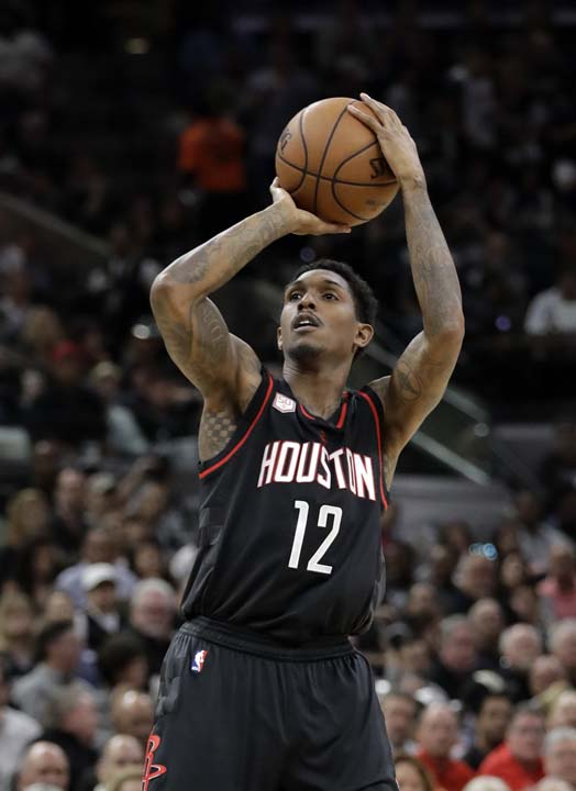 "<div class=""meta image-caption""><div class=""origin-logo origin-image ap""><span>AP</span></div><span class=""caption-text"">Houston Rockets' Lou Williams (12) attempts a shot during the first half in Game 5. (AP Photo/Eric Gay) (AP)</span></div>"