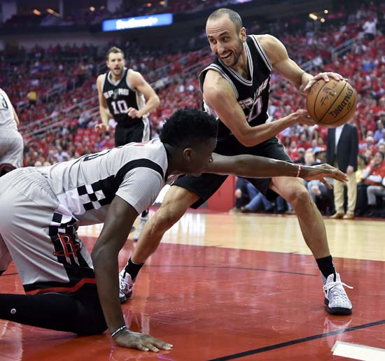 <div class='meta'><div class='origin-logo' data-origin='KTRK'></div><span class='caption-text' data-credit='AP'>San Antonio Spurs guard Manu Ginobili, right, grabs a loose ball from Houston Rockets center Clint Capela during the first half in Game 6. (AP Photo/Eric Christian Smith)</span></div>