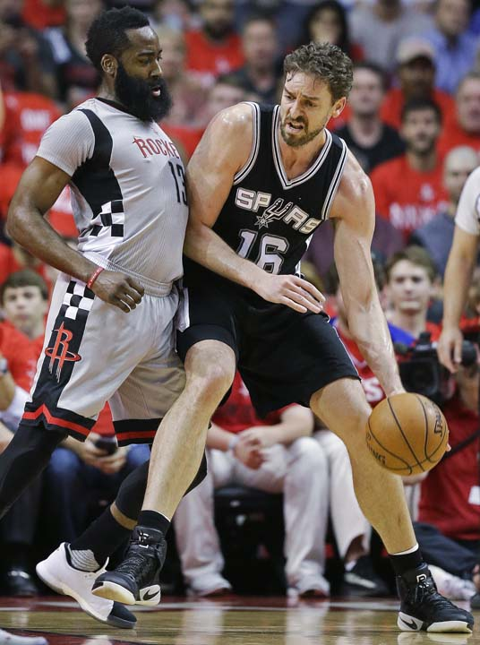 <div class='meta'><div class='origin-logo' data-origin='KTRK'></div><span class='caption-text' data-credit='AP'>San Antonio Spurs center Pau Gasol, right, dribbles as Houston Rockets guard James Harden defends during the first half in Game 6. (AP Photo/Eric Christian Smith)</span></div>