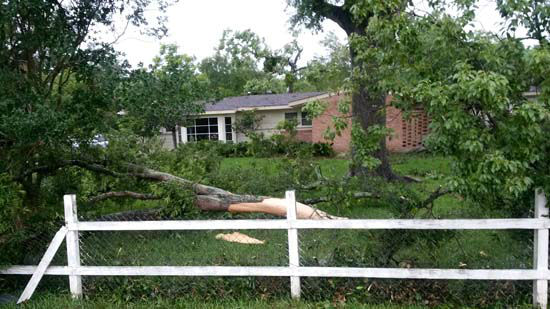 <div class='meta'><div class='origin-logo' data-origin='none'></div><span class='caption-text' data-credit='Photo/Quinton Ray'>Damage seen in a neighborhood in the Houston area</span></div>