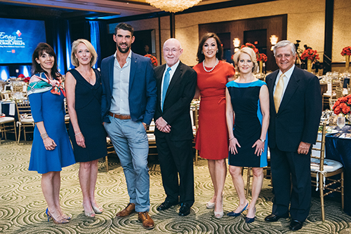 <div class='meta'><div class='origin-logo' data-origin='KTRK'></div><span class='caption-text' data-credit='Allen S. Kramer/Texas Children's Hospital.'>Michael Phelps and Andrea Kremer with event co-chairs (L to R) Shelley Barineau, Kathy Zay, Julie Bergen and Ned Torian, and Dr. David Poplack, director of Texas Children's Cancer</span></div>