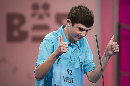 """<div class=""""meta image-caption""""><div class=""""origin-logo origin-image ap""""><span>AP</span></div><span class=""""caption-text"""">Will Lourcey of Fort Worth, Texas reacts after correctly spelling his word during the 90th Scripps National Spelling Bee in Oxon Hill, Md., Wednesday, May 31, 2017. (AP Photo/Cliff Owen)</span></div>"""
