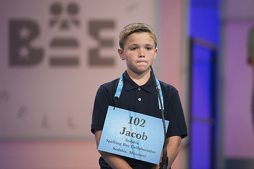 """<div class=""""meta image-caption""""><div class=""""origin-logo origin-image ap""""><span>AP</span></div><span class=""""caption-text"""">Jacob Muin of from Sedalia, Mo. misspells his word during the 90th Scripps National Spelling Bee in Oxon Hill, Md., Wednesday, May 31, 2017. (AP Photo/Cliff Owen)</span></div>"""