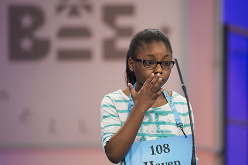 """<div class=""""meta image-caption""""><div class=""""origin-logo origin-image ap""""><span>AP</span></div><span class=""""caption-text"""">Haven Griggs of Lawndale, N.C. misspells her word during the 90th Scripps National Spelling Bee in Oxon Hill, Md., Wednesday, May 31, 2017. (AP Photo/Cliff Owen)</span></div>"""
