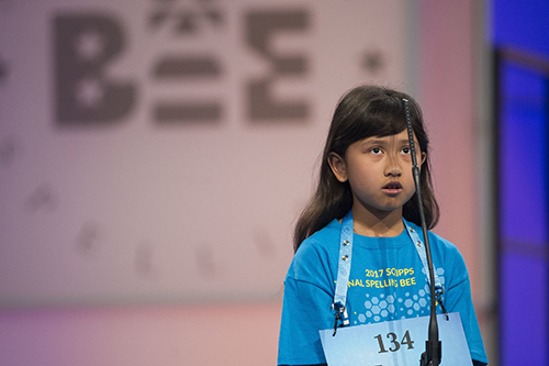 """<div class=""""meta image-caption""""><div class=""""origin-logo origin-image ap""""><span>AP</span></div><span class=""""caption-text"""">Farah Haniff of Boston, Mass. correctly spells her word during the 90th Scripps National Spelling Bee in Oxon Hill, Md., Wednesday, May 31, 2017. (AP Photo/Cliff Owen)</span></div>"""