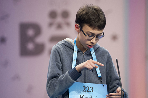 """<div class=""""meta image-caption""""><div class=""""origin-logo origin-image ap""""><span>AP</span></div><span class=""""caption-text"""">Kodai Speich, 13, from Rockford, Ill., correctly spells his word during the 90th Scripps National Spelling Bee in Oxon Hill, Md., Wednesday, May 31, 2017. (AP Photo/Cliff Owen)</span></div>"""